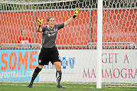 Sky Blue FC goalkeeper Jenni Branam (23). The Chicago Red Stars defeated Sky Blue FC 2-1 during a Women's Professional Soccer (WPS) match at Yurcak Field in Piscataway, NJ, on August 01, 2010.
