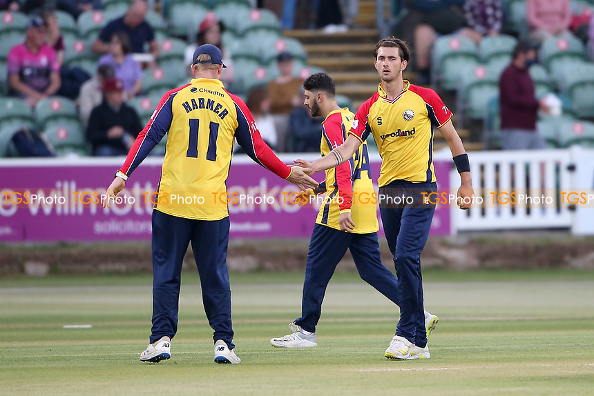 Jack Plom of Essex celebrates taking the wicket of Marchant de Lange during Somerset vs Essex Eagles, Vitality Blast T20 Cricket at The Cooper Associates County Ground on 9th June 2021