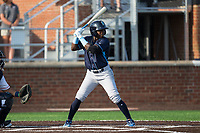 D.J. Burt (3) of the Wilmington Blue Rocks at bat against the Buies Creek Astros at Jim Perry Stadium on April 29, 2017 in Buies Creek, North Carolina.  The Astros defeated the Blue Rocks 3-0.  (Brian Westerholt/Four Seam Images)