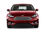Car photography straight front view of a 2015 Ford Focus Titanium 5 Door Hatchback Front View