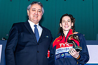 Paolo Barelli, Laura Ester ESP LEN Award 2019<br /> Budapest 25/01/2020 Duna Arena <br /> Women Medal Ceremony<br /> XXXIV LEN European Water Polo Championships 2020<br /> Photo  ©Giorgio Scala / Deepbluemedia / Insidefoto