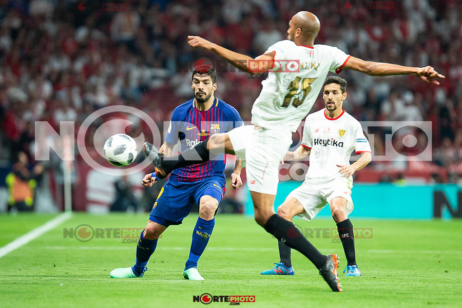 Sevilla FC Steven Mike Nzonzi and FC Barcelona Luis Suarez during King's Cup Finals match between Sevilla FC and FC Barcelona at Wanda Metropolitano in Madrid, Spain. April 21, 2018. (ALTERPHOTOS/Borja B.Hojas)