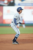 Jordan Qsar (8) of the Princeton Rays takes his lead off of second base against the Pulaski Yankees at Calfee Park on July 14, 2018 in Pulaski, Virginia. The Rays defeated the Yankees 13-1.  (Brian Westerholt/Four Seam Images)