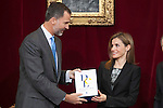 King Felipe VI of Spain and Queen Letizia of Spain during the official presentation of the Spanish Language Dicitionary 23rd edition in Madrid, Spain. October 17, 2014. (ALTERPHOTOS/Victor Blanco/Pool)