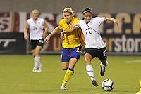 Sarah Huffman (white), Annica Svensson...USWNT tied Sweden 1-1 at Morison Stadium, Nebraska.
