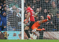 Southampton goalkeeper, Alex McCarthy fails to stop Ben Chilwell's shot from crossing the line for Chelsea's third goal during Chelsea vs Southampton, Premier League Football at Stamford Bridge on 2nd October 2021