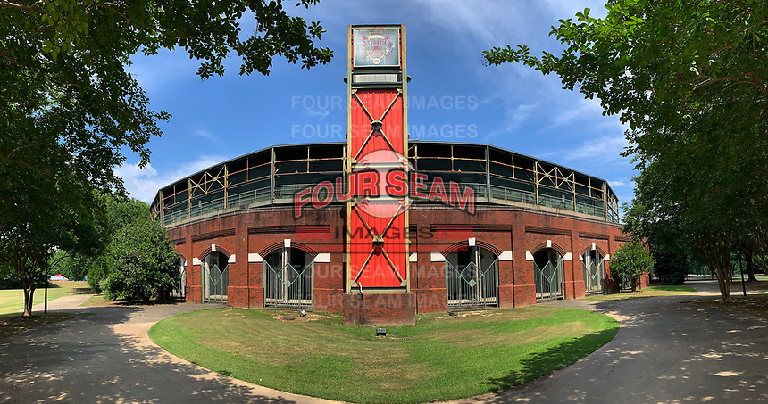 General view of Golden Park Baseball Stadium in Columbus, Georgia on June 21, 2020.  Golden Park was opened in 1951 and hosted teams from the Southern League and South Atlantic Leagues including the Columbus Cardinals, Columbus Confederate Yankees, Columbus Indians, Columbus RedStixx, South Georgia Waves, and Columbus Catfish.  The stadium also hosted the Columbus Wood Bats of the Great South Collegiate Summer League.  Panoramic image created using iPhone XR.  (Mike Janes/Four Seam Images)