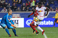 Harrison, NJ - Thursday March 01, 2018: Luis Robles, Kemar Lawrence. The New York Red Bulls defeated C.D. Olimpia 2-0 (3-1 on aggregate) during a 2018 CONCACAF Champions League Round of 16 match at Red Bull Arena.