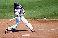 Kyle Pollock (5) of the Evansville Purple Aces swings at a pitch during a game against the Indiana State Sycamores in the 2012 Missouri Valley Conference Championship Tournament at Hammons Field on May 23, 2012 in Springfield, Missouri. (David Welker/Four Seam Images)