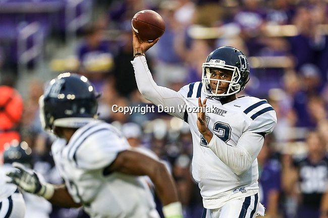 Jackson State Tigers quarterback Brent Lyles (12) in action during the game between the Jackson State Tigers and the TCU Horned Frogs at the Amon G. Carter Stadium in Fort Worth, Texas.