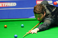 18th April 2021; Crucible Theatre, Sheffield, England; Betfred Snooker World Championships;  China's Yan Bingtao competes during the first round match with England s Martin Gould