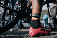 Philippe Gilbert (BEL/Quick Step floors) post-finish: world champ tattoo + belgian champ socks...<br /> <br /> Il Lombardia 2017<br /> Bergamo to Como (ITA) 247km