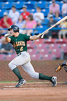 Chase d'Arnaud #2 of the Lynchburg Hillcats follows through on his swing versus the Winston-Salem Dash at Wake Forest Baseball Stadium August 29, 2009 in Winston-Salem, North Carolina. (Photo by Brian Westerholt / Four Seam Images)