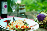 Cold beans salad with duck jam served in a ecological vegetable garden