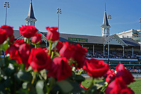 1st May 2021; Kentucky, USA;  A general view of roses in the winner's circle with the Twin Spires in the background during the 147th Running of the Kentucky Derby on May 1, 2021 at Churchill Downs in Louisville, Kentucky.