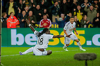Sunday 9th November 2014<br /> Pictured: Bafetibis Gomis of Swansea City Celebrates with team mates <br /> Re: Barclays Premier League Swansea City v Arsenal at the Liberty Stadium, Swansea, Wales,UK