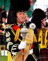 Gordon Highlander Drum Major at Aboyne Highland Games, Royal Deeside,Scotland.<br /> www.dsider.co.uk. dSider online magazine - whats on Aboyne. copyright Bill Bagshaw photography Aboyne