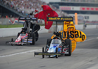 Sept. 4, 2011; Claremont, IN, USA: NHRA top fuel dragster driver Cory McClenathan during qualifying for the US Nationals at Lucas Oil Raceway. Mandatory Credit: Mark J. Rebilas-