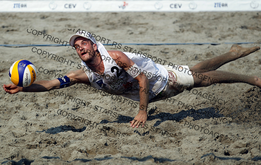 Match for the third place Huber and Seidl AUT Vs. Marcos and Garcia ESP 2012 CEV Beach Volleyball European Championship Masters in Novi Sad, Serbia, Sunday, July 08, 2012. (credit: Srdjan Stevanovic/Starsportphoto.com)