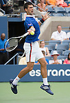 Novak Djokovic (SRB) defeats Joao Sousa (BRA) 6-1, 6-1, 6-1 at the US Open in Flushing, NY on August 31, 2015.