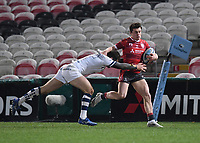 12th February 2021; Kingsholm Stadium, Gloucester, Gloucestershire, England; English Premiership Rugby, Gloucester versus Bristol Bears; Luke Morahan of Bristol Bears tackles Charlie Chapman of Gloucester
