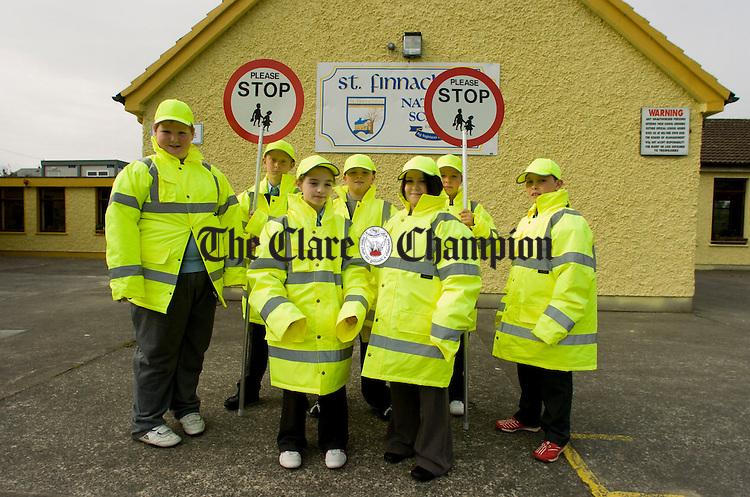 Sixmilebridge National School Junior Traffic Wardens at newly installed pedestrian crossing.Pic Arthur Ellis
