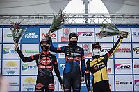podium:<br /> <br /> 1st place Lucinda Brand (NED/Baloise Trek Lions)<br /> 2nd place Denise Betsema (NED/Pauwels Sauzen-Bingoal)<br /> 3th place Marianne Vos (NED/Jumbo-Visma)<br /> <br /> Women's elite Race <br /> Zilvermeercross Mol (BEL) 2021<br /> <br /> ©Kramon