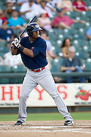 Oklahoma City RedHawks (of) Jimmy Paredes (38) at bat against the Round Rock Express during the Pacific Coast League baseball game on August 25, 2013 at the Dell Diamond in Round Rock, Texas. Round Rock defeated Oklahoma City 9-2. (Andrew Woolley/Four Seam Images)