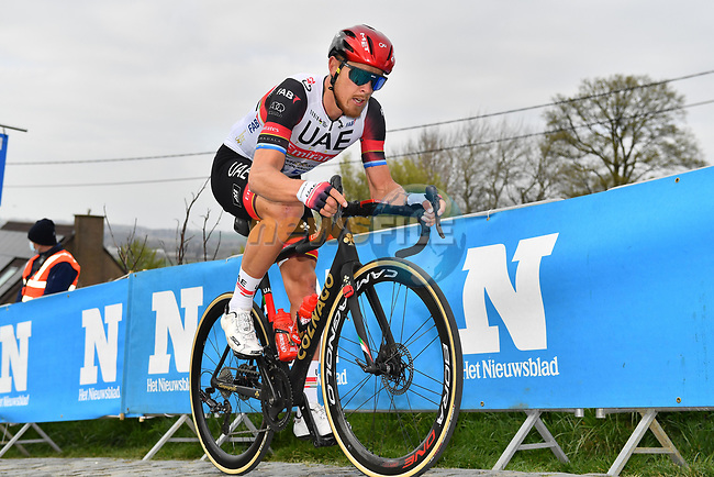 Matteo Trentin (ITA) UAE Team Emirates climbs the Paterberg during the 2021 Tour of Flanders running 254.3km from Antwerp to Oudenaarde, Belgium. 4th April 221.  <br /> Picture: Serge Waldbillig | Cyclefile<br /> <br /> All photos usage must carry mandatory copyright credit (© Cyclefile | Serge Waldbillig)