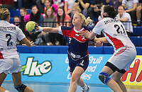 22 OCT 2011 - LONDON, GBR - Britain's Lynn McCafferty (centre) passes during the Women's 2012 European Handball Championship qualification match against Russia at the National Sports Centre at Crystal Palace (PHOTO (C) NIGEL FARROW)