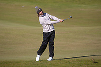 1st October 2021; Kingsbarns Golf Links, Fife, Scotland; European Tour, Alfred Dunhill Links Championship, Second round; Tommy Fleetwood of England hits a shot from the fairway on the seventh hole at Kingsbarns Golf Links