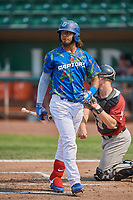 Ronny Brito (5) of the Ogden Raptors bats against the Idaho Falls Chukars at Lindquist Field on July 29, 2018 in Ogden, Utah. The Raptors defeated the Chukars 20-19. (Stephen Smith/Four Seam Images)