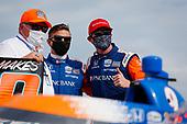 #9: Scott Dixon, Chip Ganassi Racing Honda celebrates winning the Bommarito Automotive Group 500 Race 1, Chip Ganassi