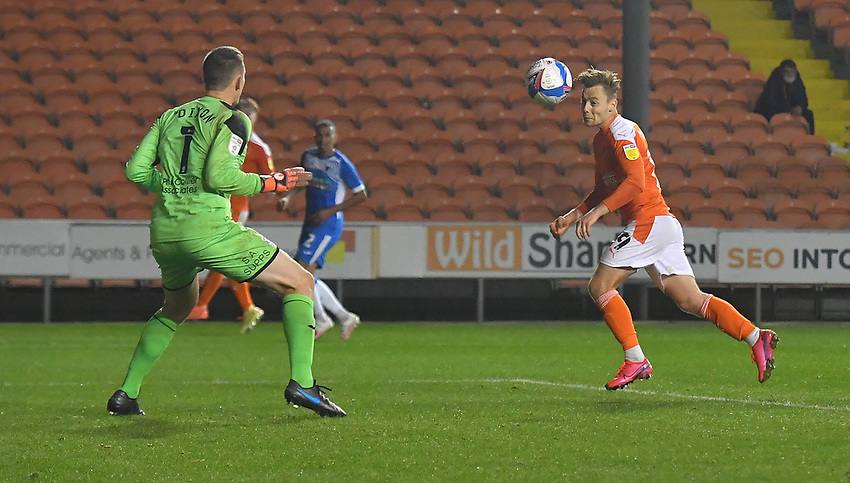 Blackpool's Daniel Kemp comes closest to breaking the deadlock<br /> <br /> Photographer Dave Howarth/CameraSport<br /> <br /> EFL Trophy Northern Section Group G - Blackpool v Barrow - Tuesday 8th September 2020 - Bloomfield Road - Blackpool<br />  <br /> World Copyright © 2020 CameraSport. All rights reserved. 43 Linden Ave. Countesthorpe. Leicester. England. LE8 5PG - Tel: +44 (0) 116 277 4147 - admin@camerasport.com - www.camerasport.com