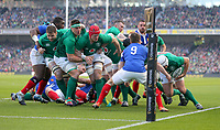 Sunday10th March 2019 | Ireland vs France<br /> <br /> Rory Best drives for the line to score Ireland's first try during the Guinness 6 Nations clash between Ireland and France at the Aviva Stadium, Lansdowne Road, Dublin, Ireland. Photo by John Dickson / DICKSONDIGITAL