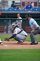Mahoning Valley Scrappers catcher Jason Rodriguez (20) and umpire Scott Molloy await the pitch during the second game of a doubleheader against the Auburn Doubledays on July 2, 2017 at Falcon Park in Auburn, New York.  Mahoning Valley defeated Auburn 3-2.  (Mike Janes/Four Seam Images)