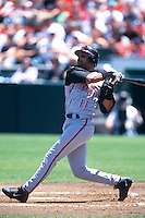 SAN FRANCISCO, CA:  Barry Larkin of the Cincinnati Reds in action during the game against the San Francisco Giants at Candlestick Park in San Francisco, California in 1999. (Photo by Brad Mangin)