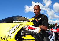 Aug. 21, 2011; Brainerd, MN, USA: NHRA pro stock motorcycle rider Michael Phillips during the Lucas Oil Nationals at Brainerd International Raceway. Mandatory Credit: Mark J. Rebilas-