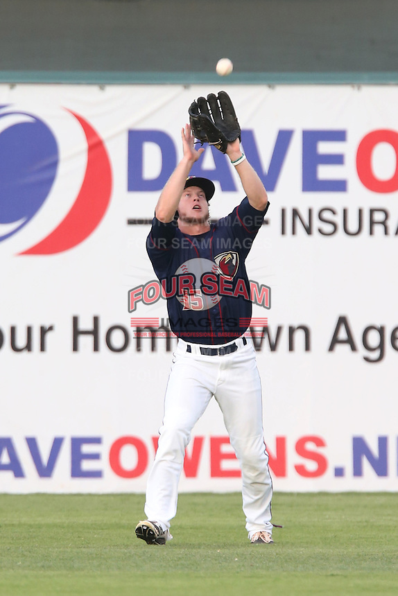 Brett Phillips #15 of the Lancaster JetHawks catches a fly ball against the Inland Empire 66ers during a playoff game at The Hanger on September 7, 2014 in Lancaster, California. Lancaster defeated Inland Empire, 5-2. (Larry Goren/Four Seam Images)