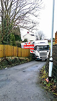An Aldi articulated lorry is stuck in a narrow country lane near the town of Clydach after its driver followed his satnav directions when the M4 motorway nearby was shut temporarily in south Wales, UK. Monday 22 January 2018
