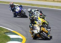 Danny Eslick (1) leads a pack of  motorcycles at the AMA Superbike Showdown at Road ATlanta, Braselton, GA, April 2010.  (Photo by Brian Cleary/www.bcpix.com)