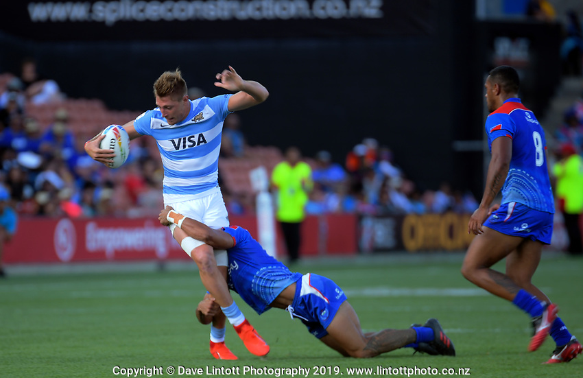 Argentina v Samoa men's pool match. Day one of the 2020 HSBC World Sevens Series Hamilton at FMG Stadium in Hamilton, New Zealand on Saturday, 25 January 2020. Photo: Dave Lintott / lintottphoto.co.nz