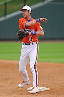 Infielder Weston Wilson (8) of the Clemson Tigers prior to a fall scrimmage against College Lafleche from Canada on October 17, 2013, at Fluor Field at the West End in Greenville, South Carolina. (Tom Priddy/Four Seam Images)