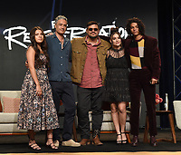 """BEVERLY HILLS, CA - AUGUST 4: (L-R) Cast member Paulina Alexis, Co-Creator/Executive Producer/Writer Taika Waititi, Co-Creator/Writer/Director Sterlin Harjo, and cast members Devery Jacobs, and D'Pharaoh Woon-A-Tai attend the FX Networks 2021 Summer Television Critics Association session for """"Reservation Dogs"""" at the Beverly Hilton on August 4, 2021 in Beverly Hills, California. (Photo by Frank Micelotta/FX/PictureGroup)"""