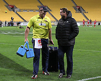 Bard Thorn talks to All Blacks coach Steve Hansen after the Super Rugby match between the Hurricanes and Reds at Westpac Stadium, Wellington, New Zealand on Saturday, 14 May 2016. Photo: Martin Hunter / lintottphoto.co.nz