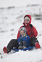 25/11/17<br /> <br /> Jane Scott with son Ben, 6.<br /> <br /> Snow continues to fall on Mam Tor near Castleton in the Derbyshire Peak District.<br />  <br /> All Rights Reserved F Stop Press Ltd. +44 (0)1335 344240 +44 (0)7765 242650  www.fstoppress.com