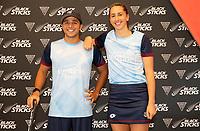 George Muir and Steph Dickson. Hockey Premier League Official Launch, Auckland Grammar Hockey Turf, Auckland, New Zealand. Photo: Simon Watts/www.bwmedia.co.nz/HockeyNZ