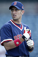 Nomar Garciaparra of the Boston Red Sox before a 2002 MLB season game against the Los Angeles Angels at Angel Stadium, in Anaheim, California. (Larry Goren/Four Seam Images)