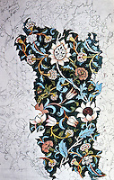 """William Morris:  Working design for  """"Evenlode"""" chintz,from which material was printed. 1883 at Merton Abbey."""