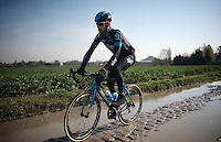 Sir Bradley Wiggins (GBR/Sky) passes through a soaked Haveluy (to Wallers) sector <br /> <br /> 2015 Paris-Roubaix recon with Team SKY